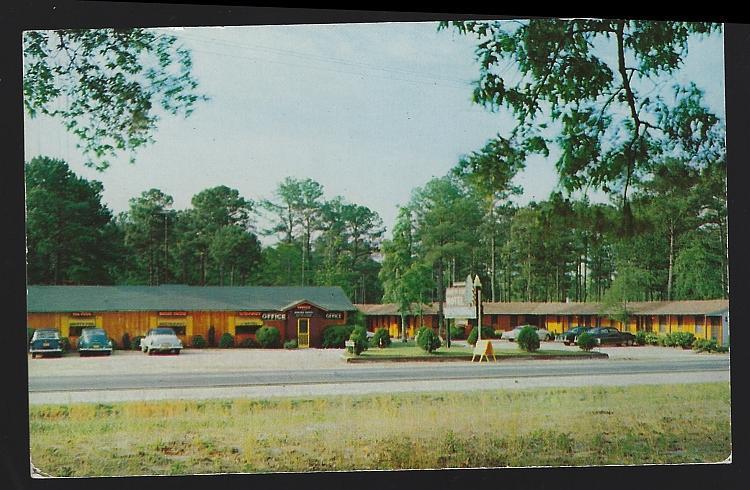 Vintage Unused Postcard Knotty Pine Motel Restaurant Lumberton North Carolina