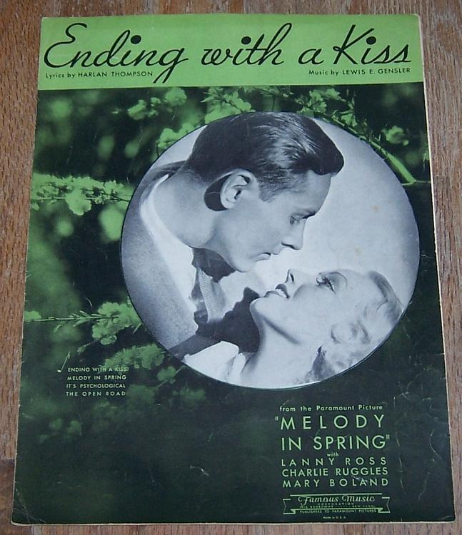 Ending with a Kiss From Movie Starring Charlie Ruggles/Mary Boland Sheet Music