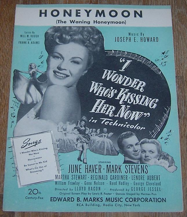 Honeymoon From Movie Starring June Haver and Mark Stevens 1936 Sheet Music