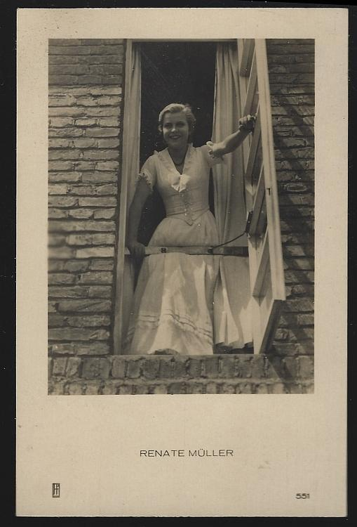 Vintage Postcard of German Actress and Singer Renate Muller in Window