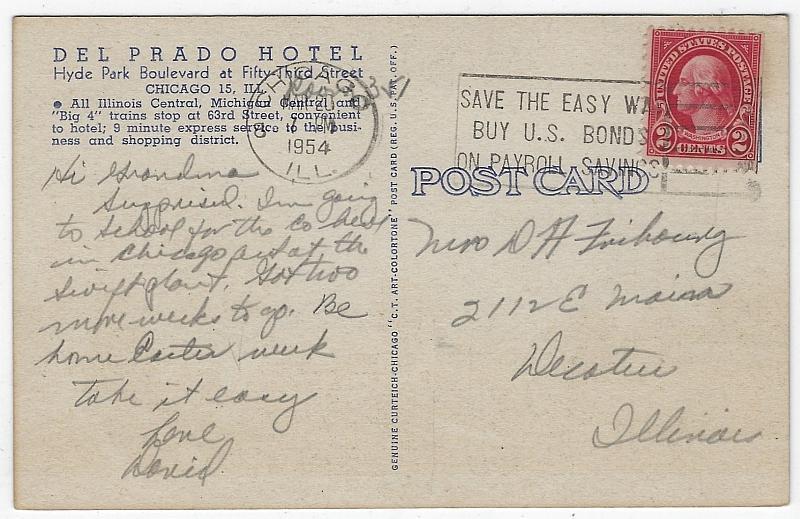 Postcard of The Del Prado Hotel, Chicago, Illinois