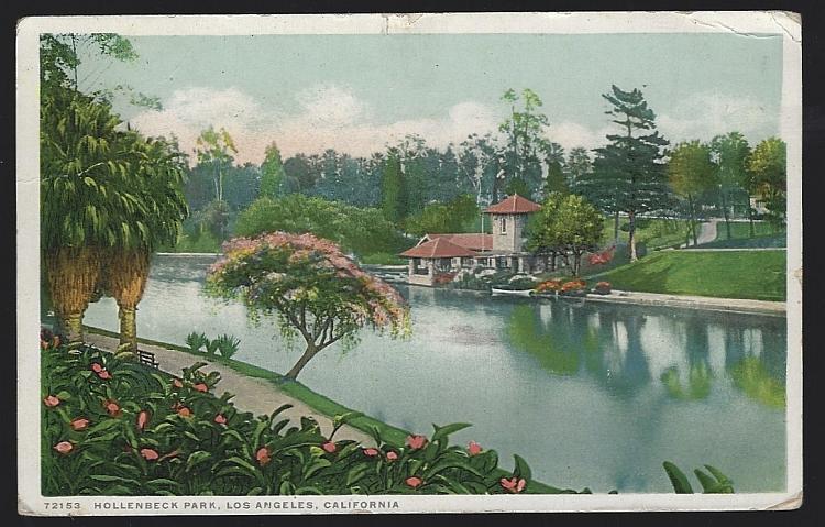 Vintage Postcard of Hollenbeck Park, Los Angeles, California 1924