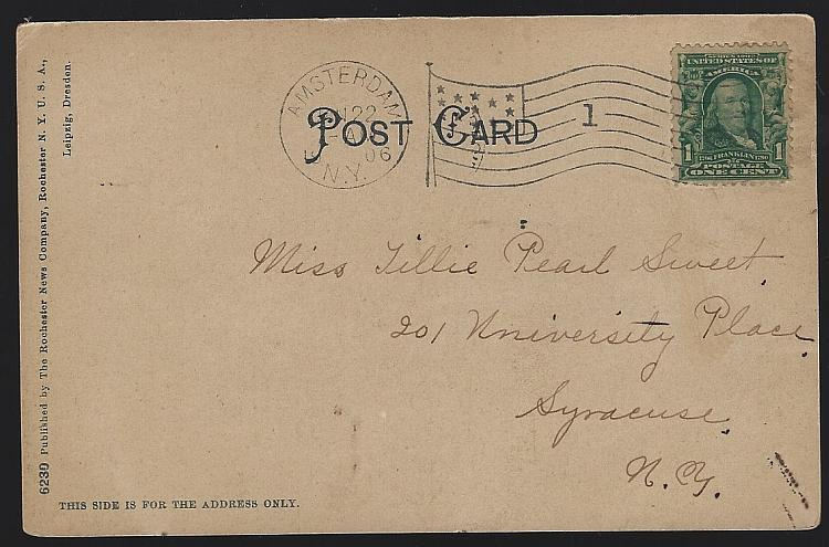 Vintage Undivided Postcard of High School, Amsterdam, New York 1906