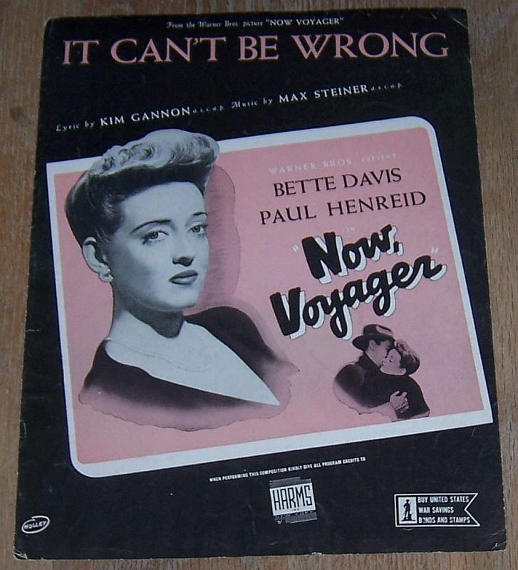 It Can't Be Wrong From Now Voyager Starring Bette Davis 1942 Sheet Music