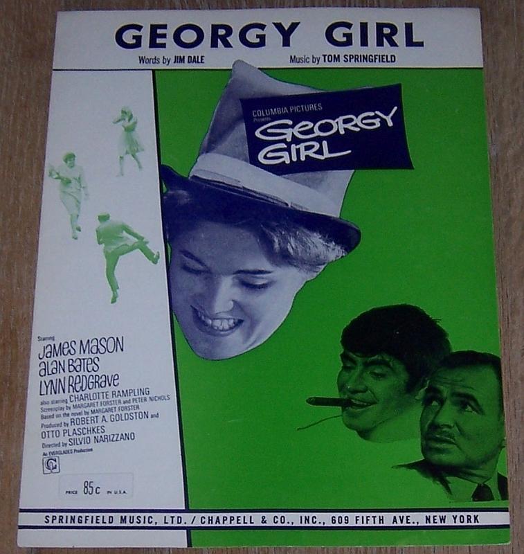 Georgy Girl Sheet Music From the Movie Starring Lynn Redgrave/James Mason 1966