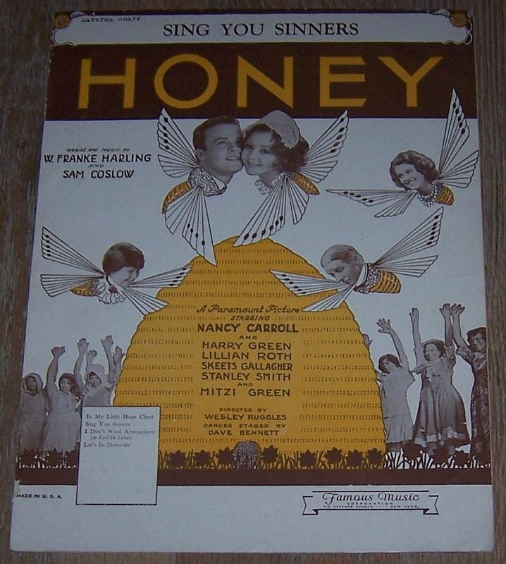 Sing You Sinners Honey Nancy Carroll Harry Green 1930 Movie Sheet Music