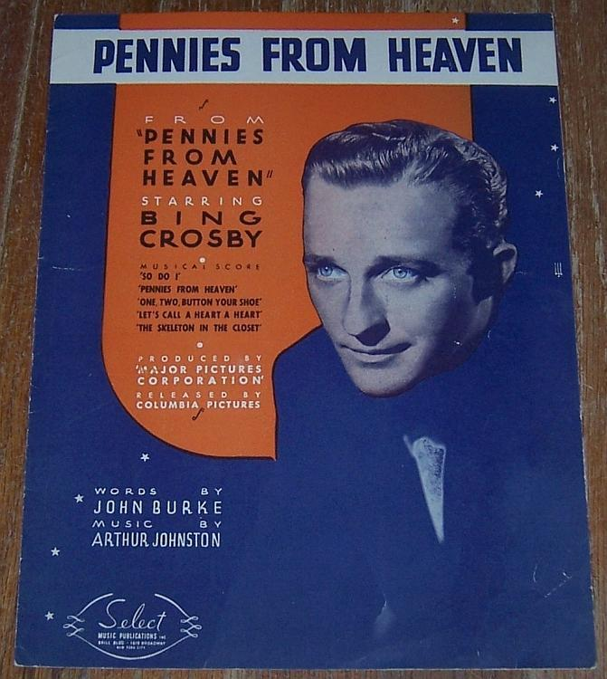 Pennies from Heaven From Movie Starring Bing Crosby 1936 Sheet Music