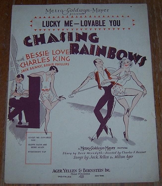 Lucky Me-Loveable You From Movie Chasing Rainbows Bessie Love 1929 Sheet Music