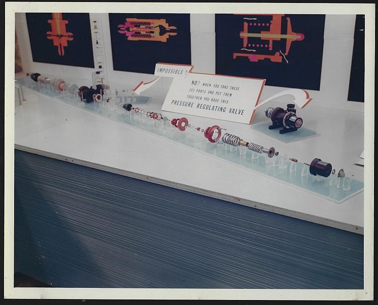 Original Color Photograph of Display of 203 Parts of a Pressure Regulating Valve