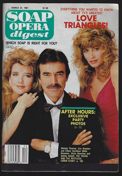 Soap Opera Digest March 24, 1987 Young and Restless Love Triangles Cover