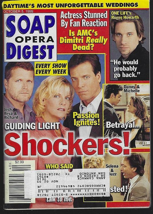 Soap Opera Digest October 5, 1999 Guiding Light Shockers/Bill and Susan Hayes