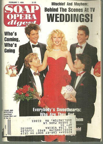Soap Opera Digest February 4, 1989 Crickett Sweethearts Scott Holmes