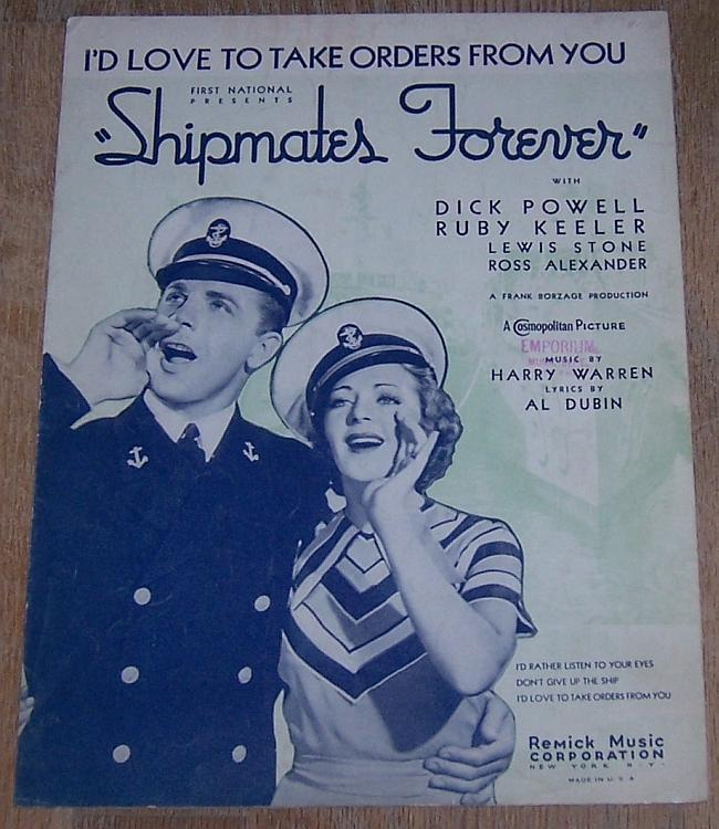 I'd Love to Take Orders from You Dick Powell Ruby Keller 1935 Movie Sheet Music