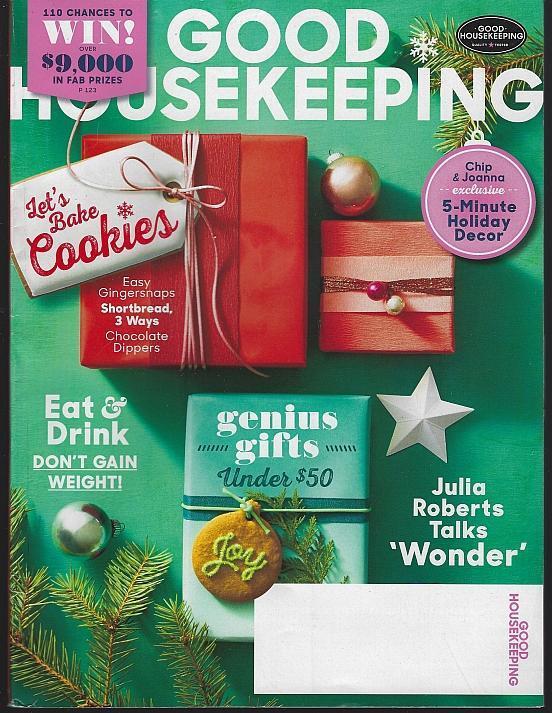 Good Housekeeping Magazine December 2017 Gifts/Julia Roberts/Decor/Cookies
