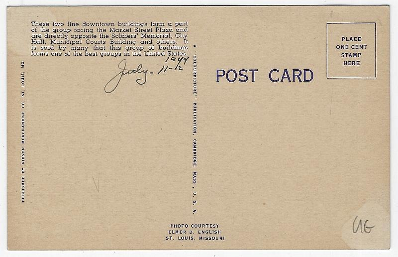 Bell Telephone and Civil Courts, St. Louis, Missouri Vintage Postcard