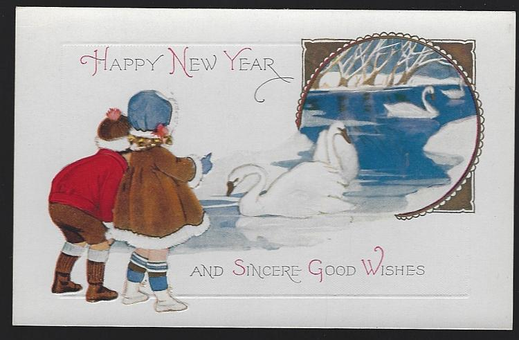 Vintage Unused Two Cute Kids with Swans Wish a Happy New Year Postcard