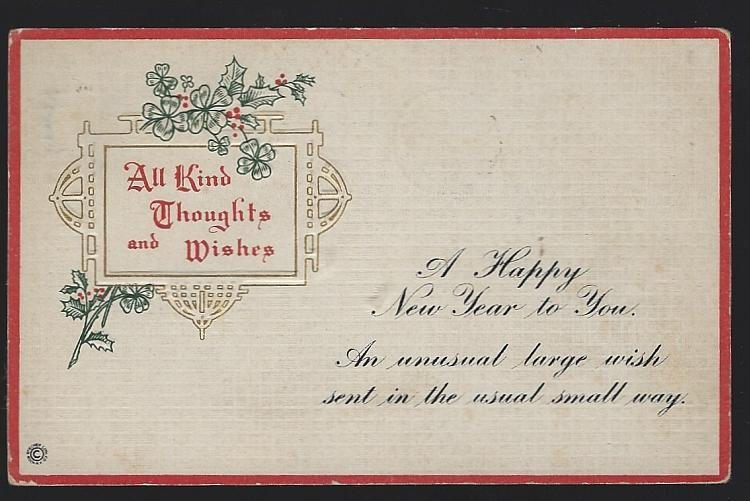Vintage New Year Postcard with Four Leaf Clovers Kind Thoughts and Wishes
