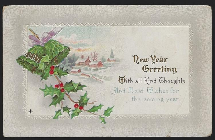 Vintage New Year Greeting Postcard with Bells Snowy Landscape and Holly 1914