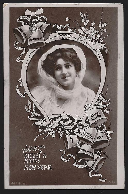 Vintage New Year Postcard with Lovely Lady and Bells Good Luck Horseshoe