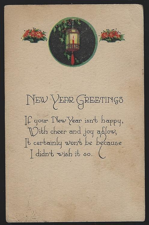Vintage New Year Greetings Postcard with Lantern Flowers Cheer and Joy Aglow