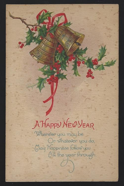 Vintage Unused New Year Postcard with Gold Bells and Holly Happiness Follow You