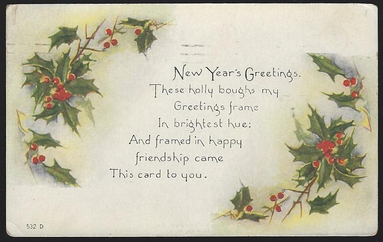 Vintage New Year Greetings Postcard with Holly Boughs Bring Greetings 1920
