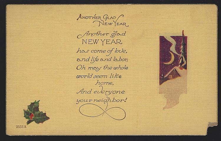 Vintage Unused New Year Postcard with Snowy House Another Glad Year