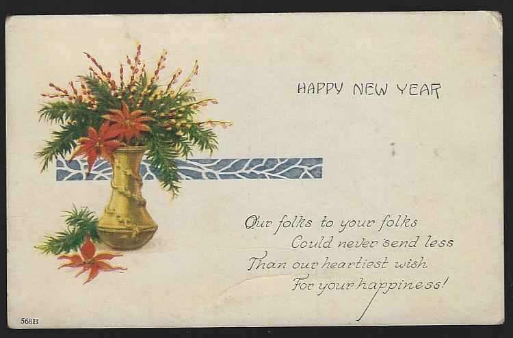 Vintage Unused New Year Postcard with Vase Filled with Poinsettias