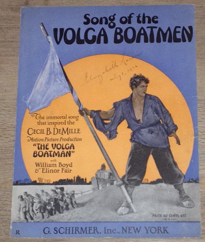 Song of the Volga Boatman Cecil B. DeMille Movie 1926 Sheet Music William Boyd