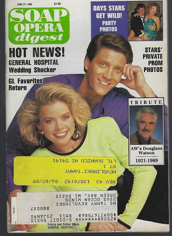 Soap Opera Digest June 27, 1989 Colton Felicia Brenda Epperson Douglass Watson