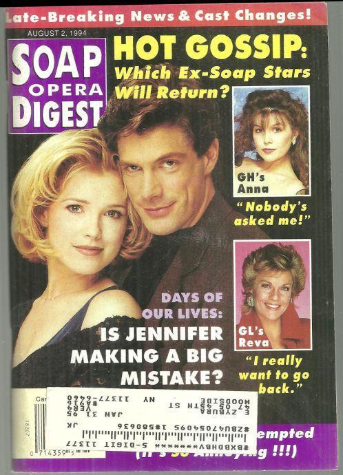 Soap Opera Digest Magazine August 2, 1994 Melissa Reeves and Jason Brooks DOOL