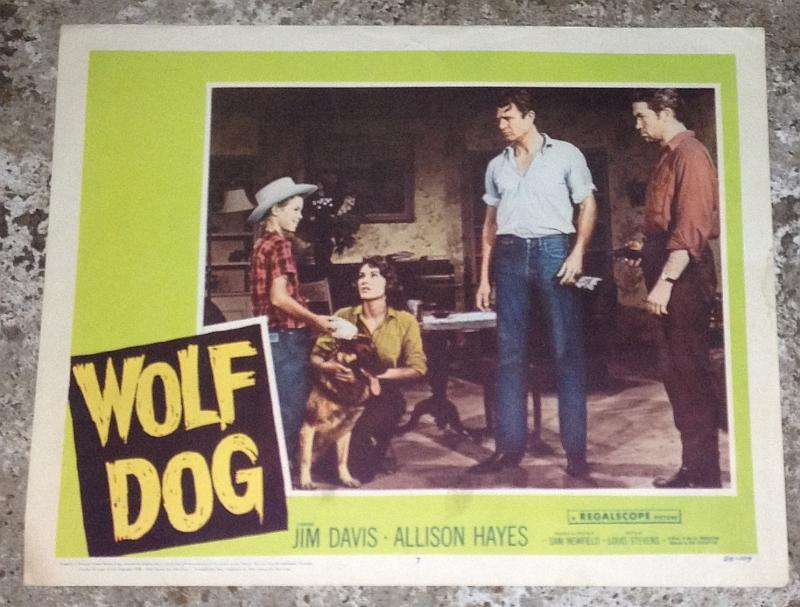 Lobby Card for Movie Wolf Dog Starring Jim Davis and Allison Hayes 1958