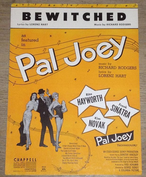 Bewitched Rita Hayworth Frank Sintra Kim Novak Pal Joey 1941 Movie Sheet Music