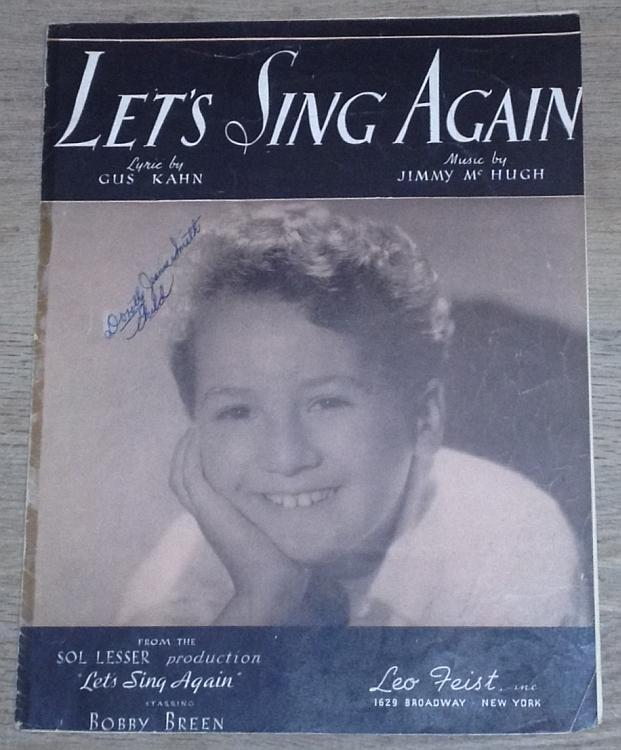 Let's Sing Again Featured by Bobby Breen 1936 Movie Sheet Music