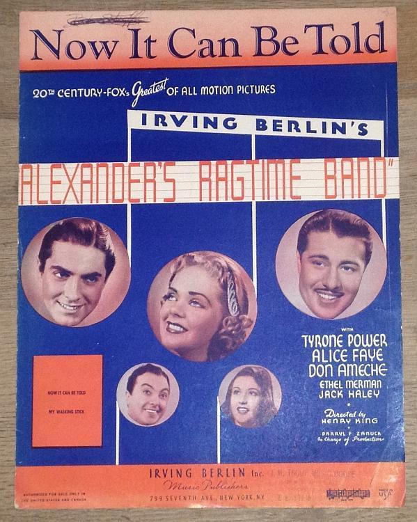 Now It Can Be Told Tyrone Power, Alice Faye Ethel Merman 1928 Movie Sheet Music