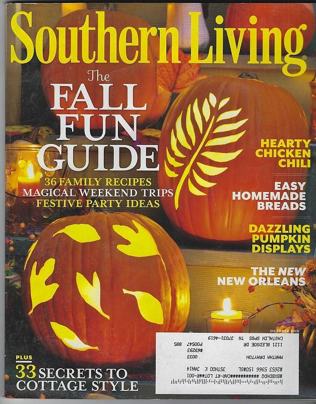 Southern Living Magazine October 2013 Fall Fun Guide Cover/New Orleans/Harvest