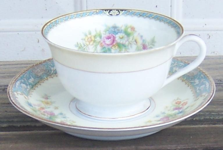 Vintage Noritake China Occupied Japan Blue Dawn Floral Cup and Saucer