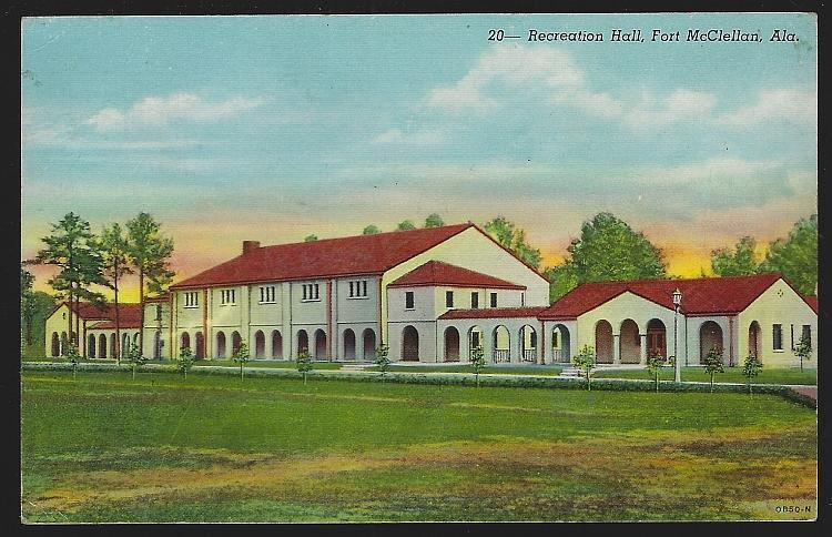 Recreation Hall, Fort McClellan, Alabama Vintage Unused Military Postcard
