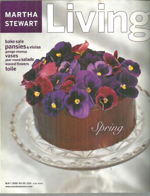 Martha Stewart Living Magazine May 1998 Pansies On A Chocolate Cake The Cover