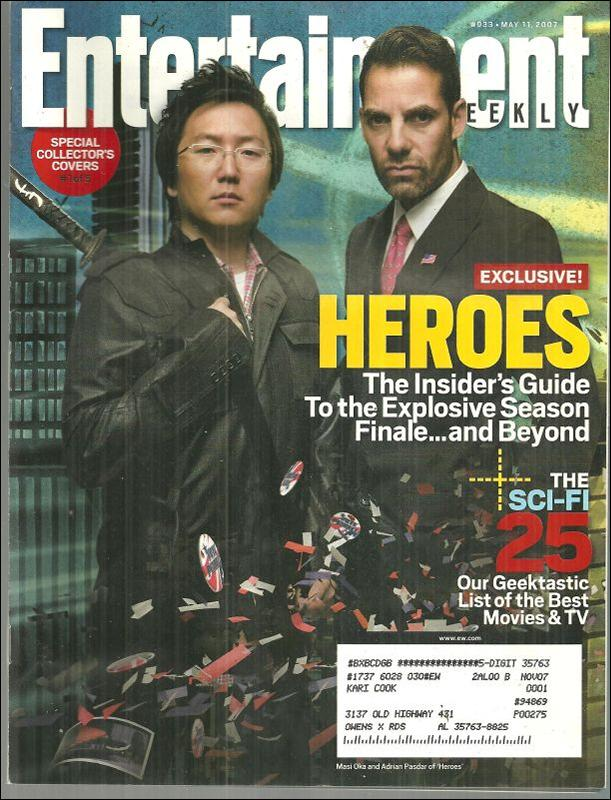 Entertainment Weekly Magazine May 11, 2007 Season Finale of Heroes on the Cover