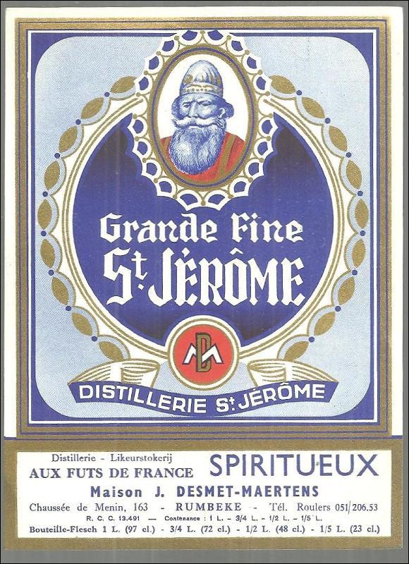 Vintage Label for Grande Fine St. Jerome, France Distillerie St. Jerome