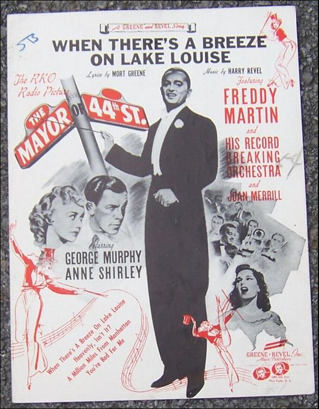 When There's a Breeze on Lake Louise From Mayor of 44th Street 1942 Sheet Music