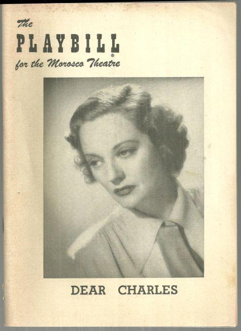 Playbill Tallulah Bankhead in Dear Charles, November 15, 1954 Morosco Theatre