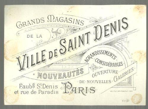 Victorian Trade Card for Ville de Saint Denis, Paris Palais de Des Mines