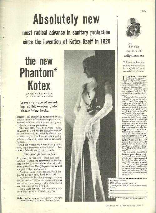 1932 Good Housekeeping Magazine Advertisment for The New Phantom Kotex