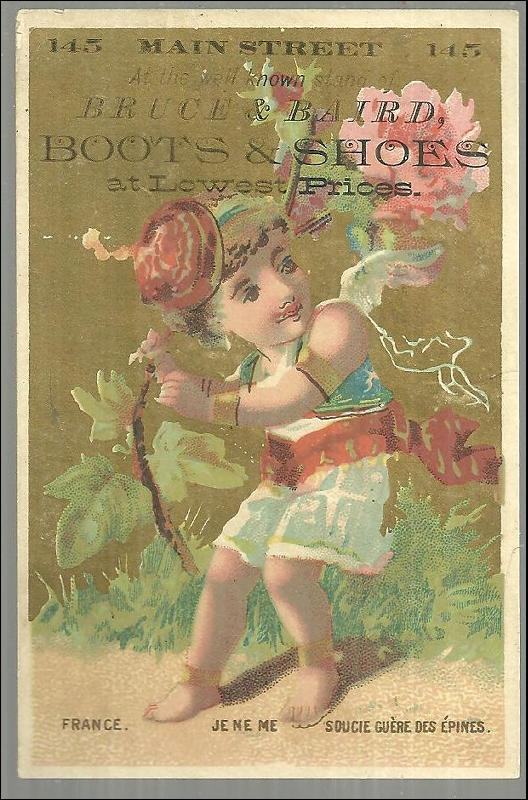 Victorian Trade Card for Bruce and Baird Boots and Shoe with Boy in Costume