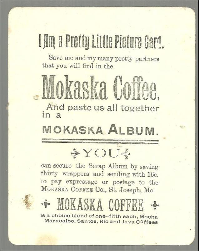 Victorian Trade Card For Mokaska Coffee, St. Joseph, Missouri with Winter Scene