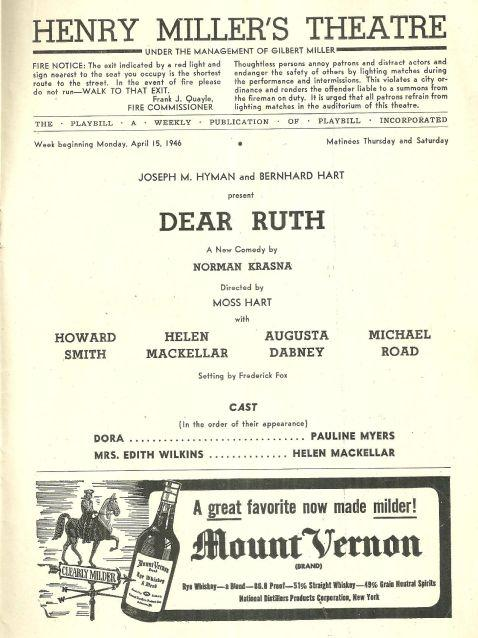 Playbill for Dear Ruth, April 15, 1946 Starring Howard Smith and Helen Mackellar
