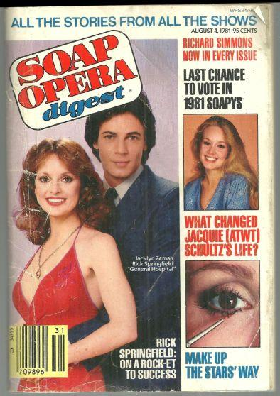 Soap Opera Digest Magazine August 4, 1981  Jackyn Zeman and Rick Springfield GH