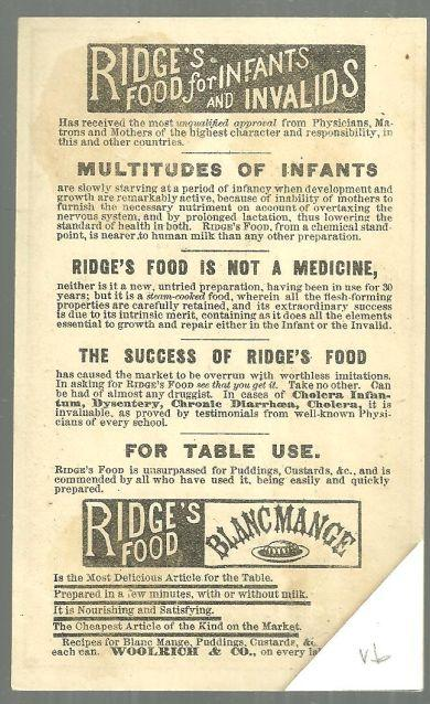 Victorian Trade Card for Ridge's Food for Infants and Invalids with Angels
